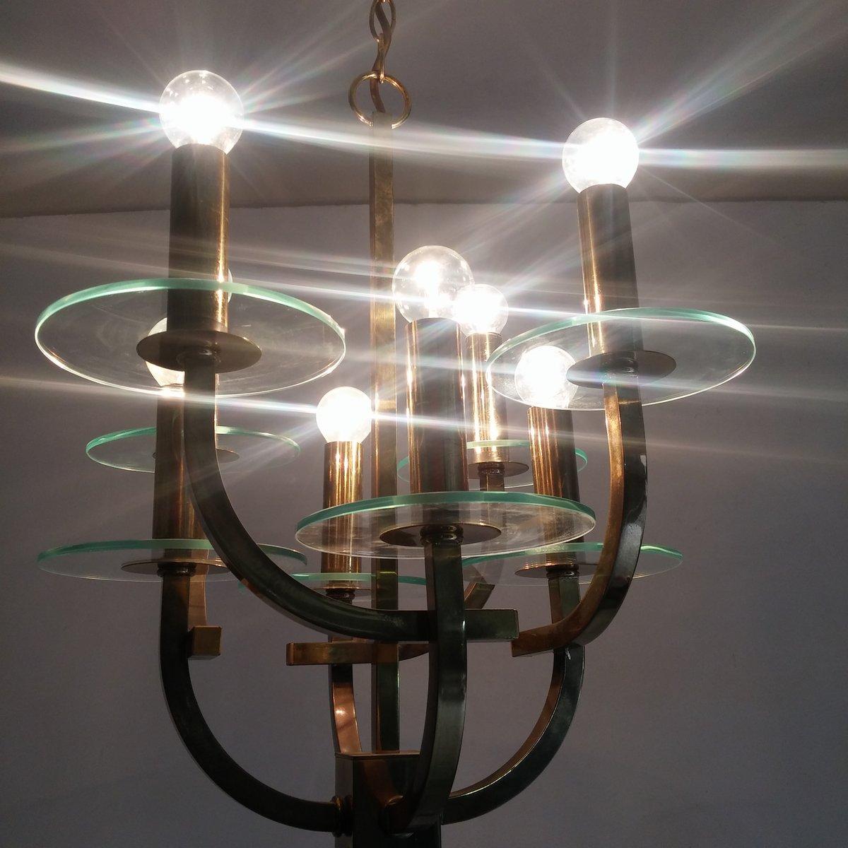 Kronleuchter Mit : Mid century kronleuchter mit leuchten bei pamono kaufen