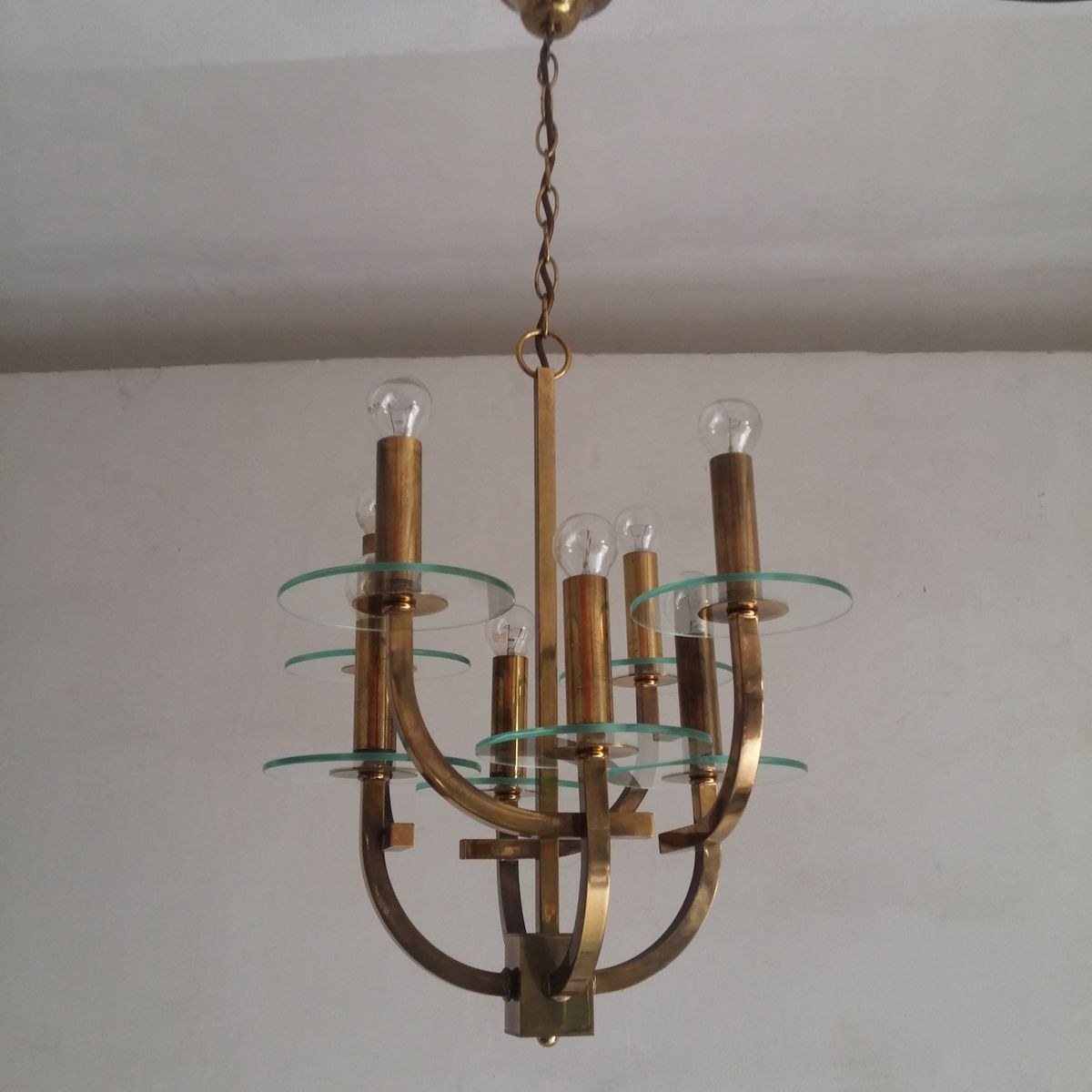 mid century kronleuchter mit 8 leuchten bei pamono kaufen. Black Bedroom Furniture Sets. Home Design Ideas