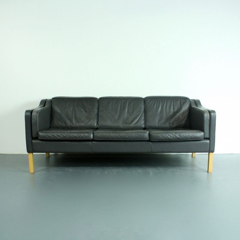 vintage 3 sitzer sofa aus anthrazitfarbenem leder bei pamono kaufen. Black Bedroom Furniture Sets. Home Design Ideas