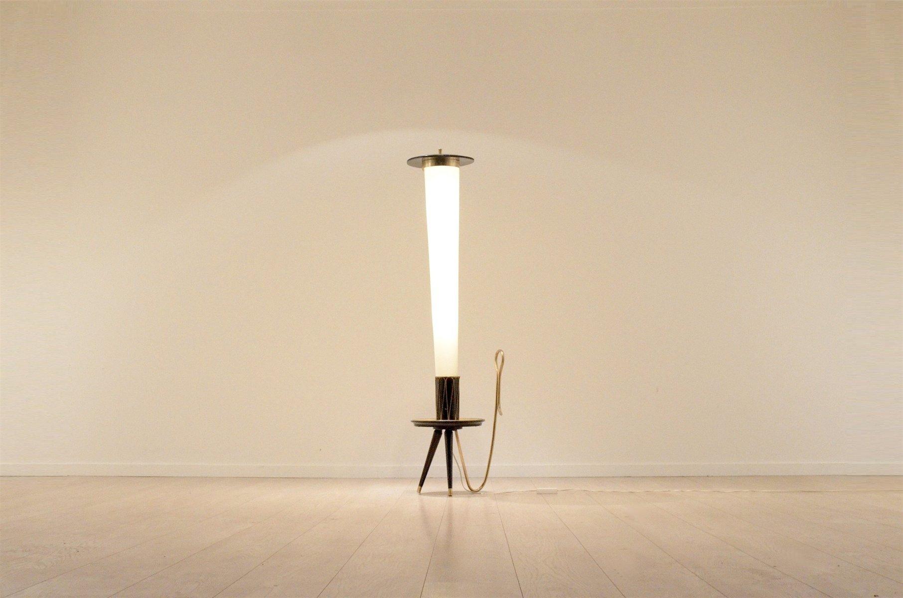 Mid Century Italian Brass & Lacquered Wood Tripod Cone Floor Lamp