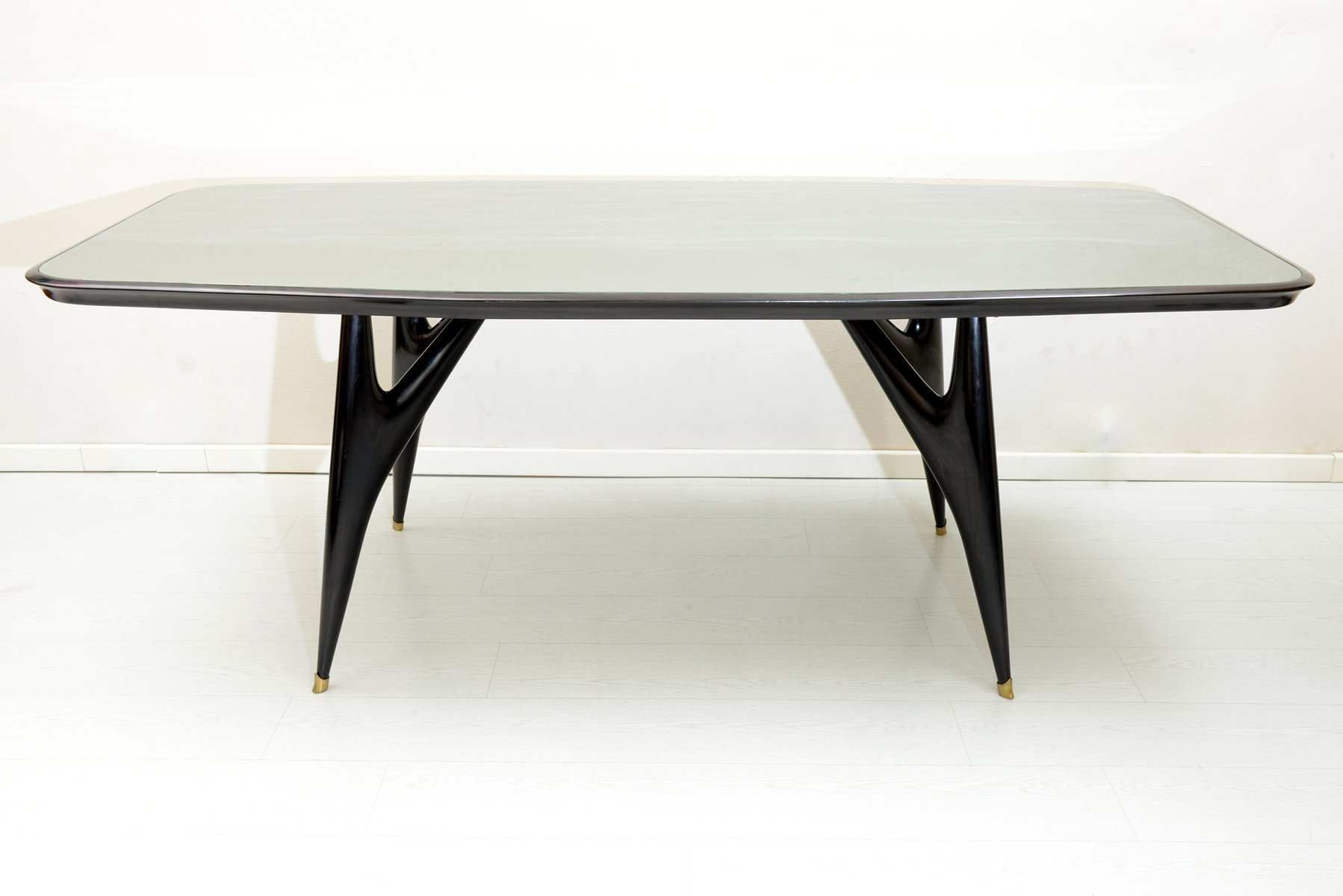 Black italian wooden dining table 1950s for sale at pamono for Italian dining table