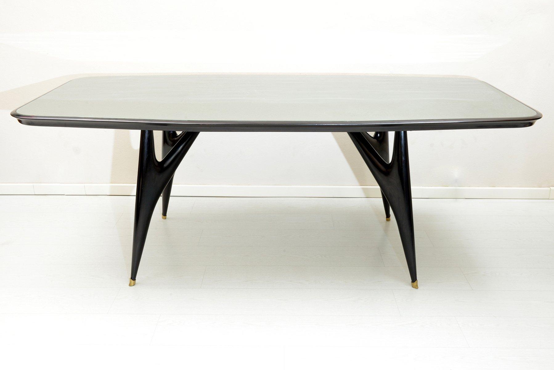 schwarzer italienischer holz esstisch 1950er bei pamono kaufen. Black Bedroom Furniture Sets. Home Design Ideas