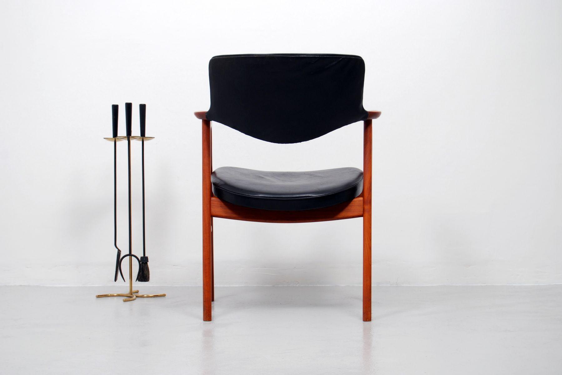 vintage schreibtisch stuhl aus teak und leder von erik kirkegaard f r h ng stolefabrik bei. Black Bedroom Furniture Sets. Home Design Ideas