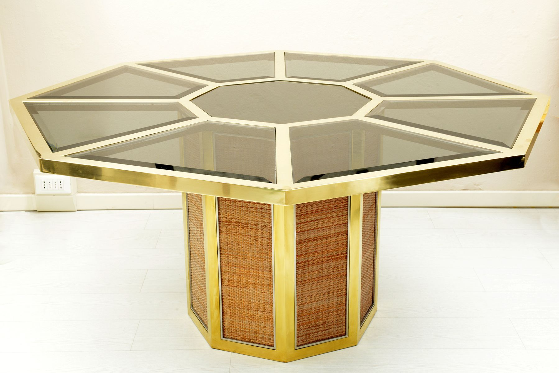 Octagonal brass smoked beveled glass table by romeo rega for Table exterieur octogonale