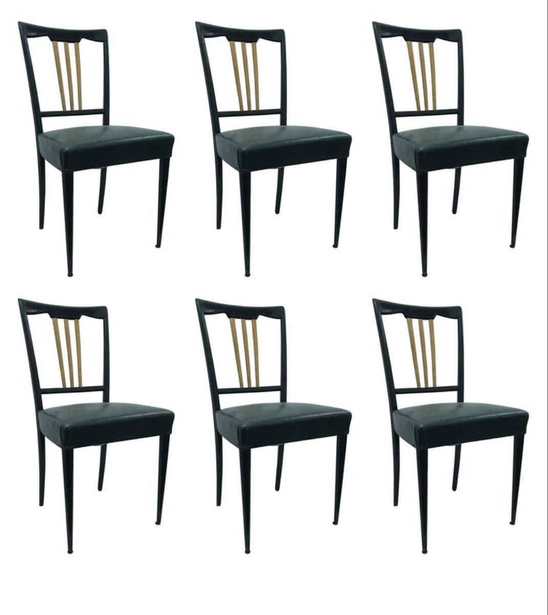Art deco black and gold dining chairs 1930s set of 6 for for Deco 6 brumath