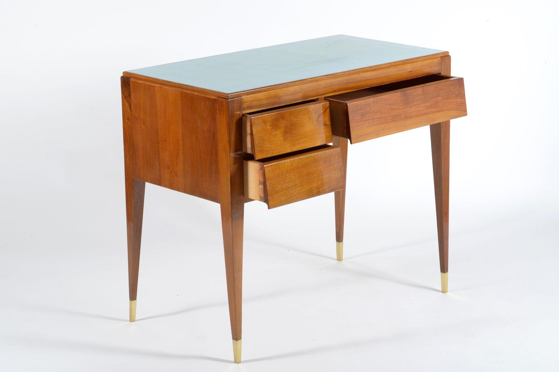 bureau mid century en noyer massif italie 1955 en vente. Black Bedroom Furniture Sets. Home Design Ideas