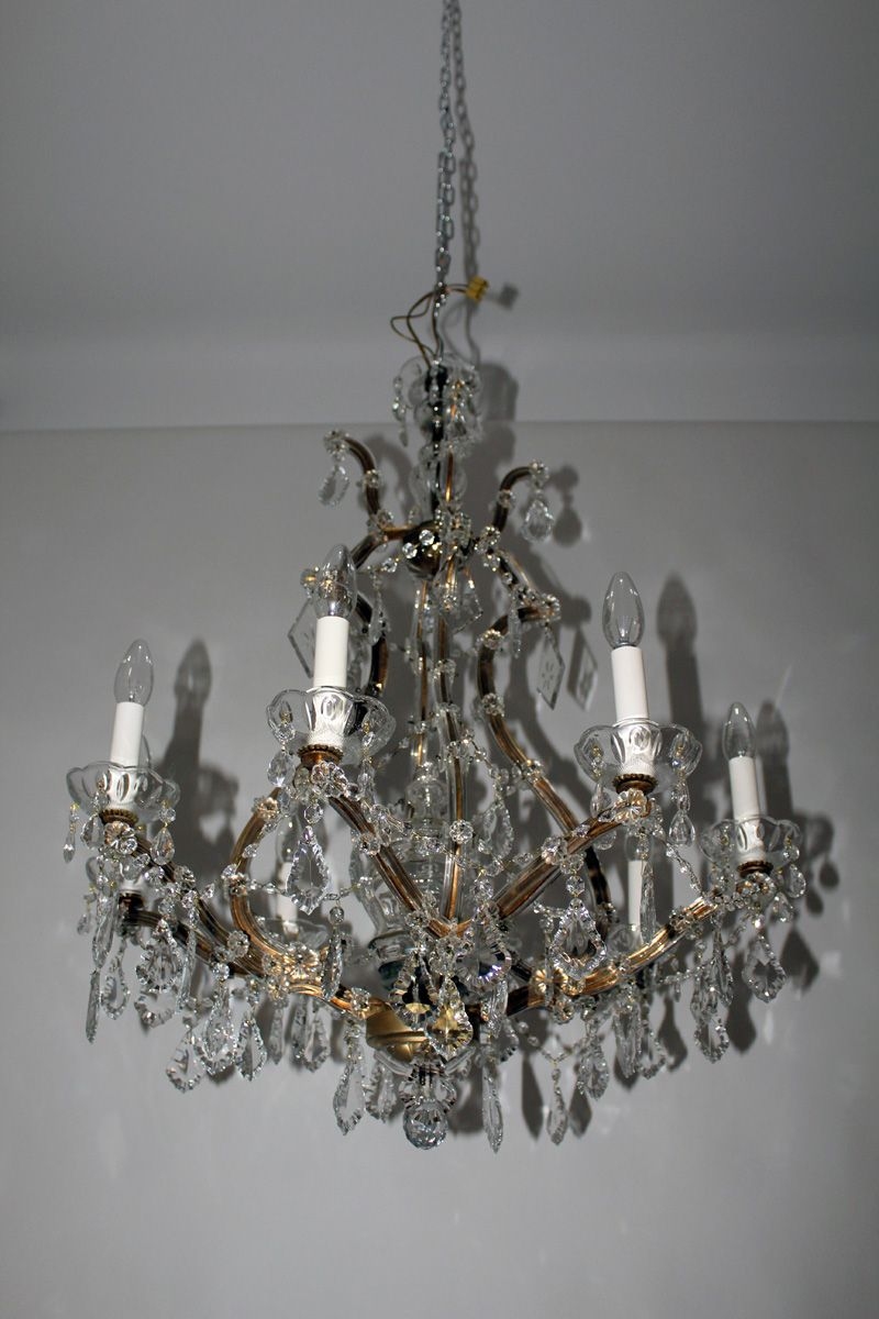 Crystal chandelier with candle bulb holders 1950s for sale at pamono crystal chandelier with candle bulb holders 1950s arubaitofo Choice Image