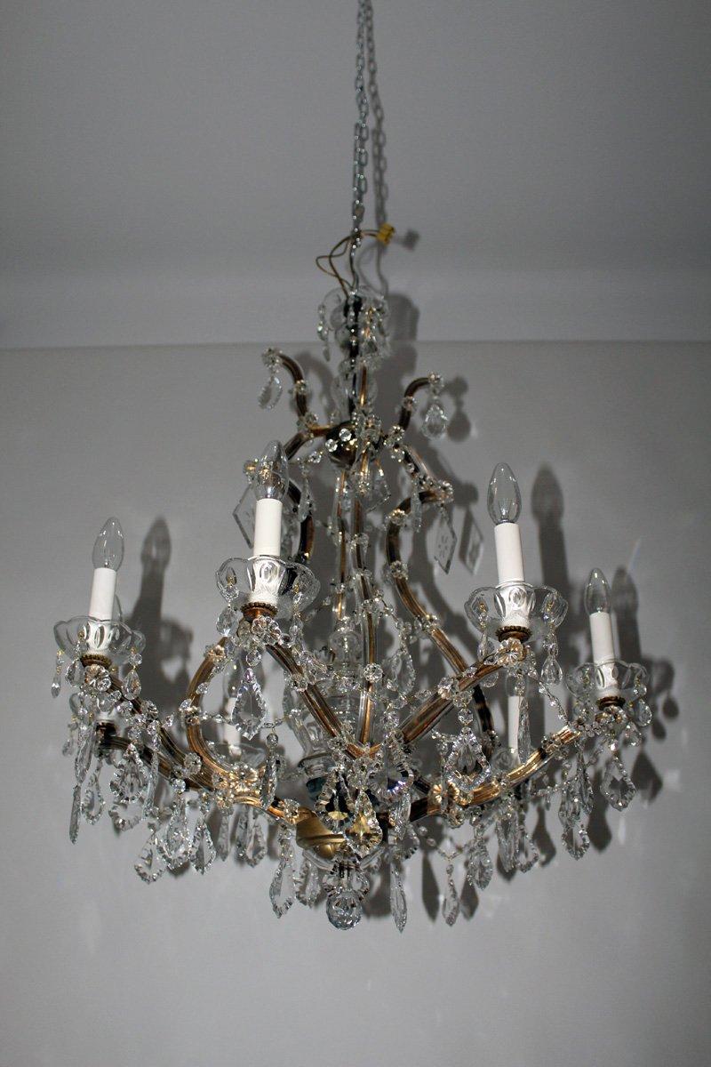 kristall kronleuchter mit kerzenf rmigen lampenfassungen 1950er bei pamono kaufen. Black Bedroom Furniture Sets. Home Design Ideas