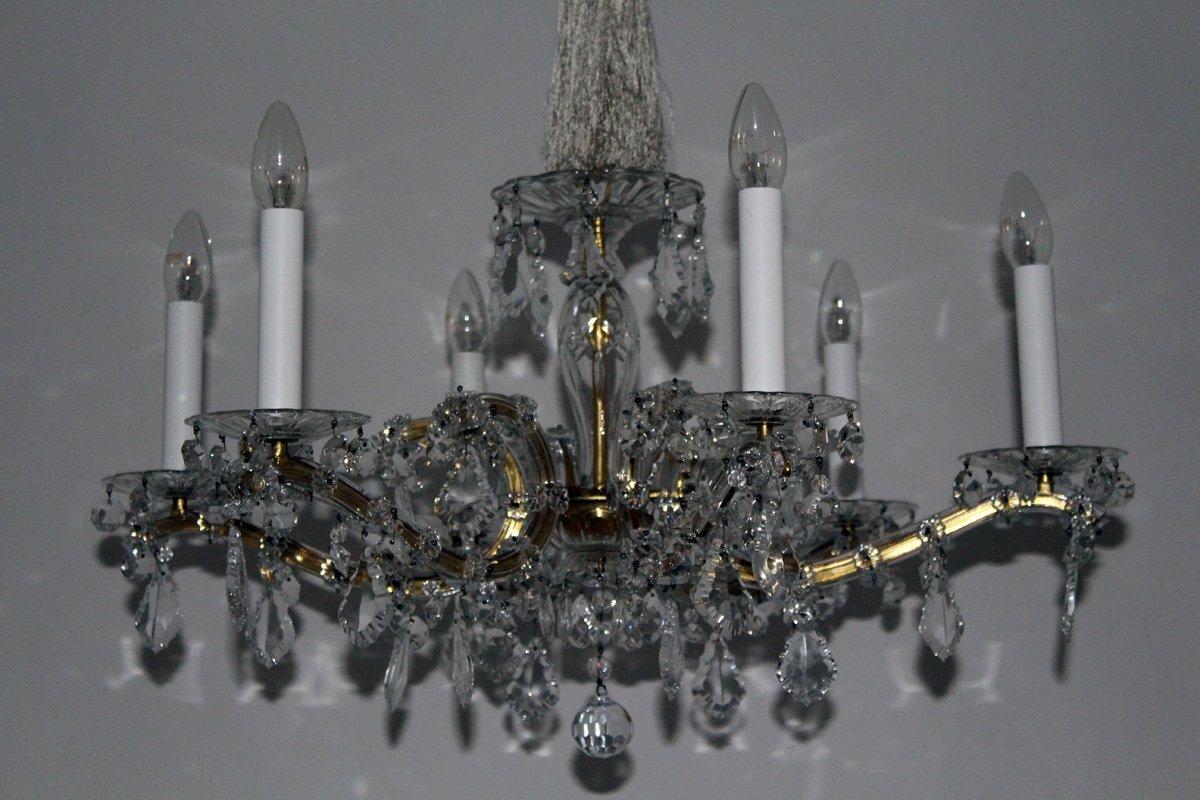 kronleuchter mit kristall behang 1950er bei pamono kaufen. Black Bedroom Furniture Sets. Home Design Ideas