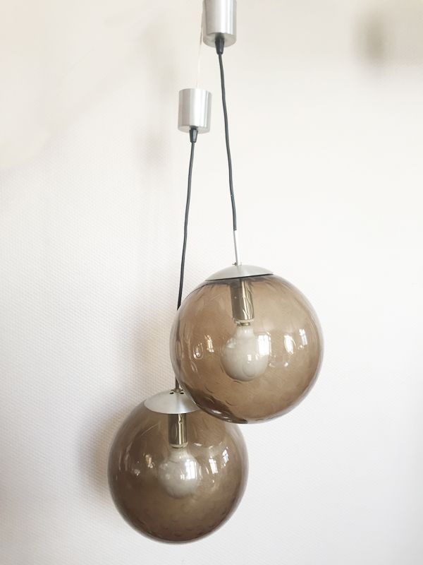 Smoked glass bubble suspension lamps 1970s set of 2 for for Suspension 2 lampes