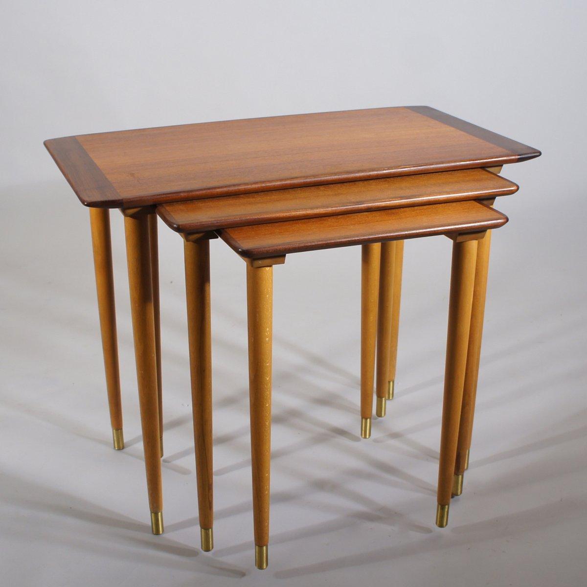 Vintage swedish nesting tables in teak s for sale at