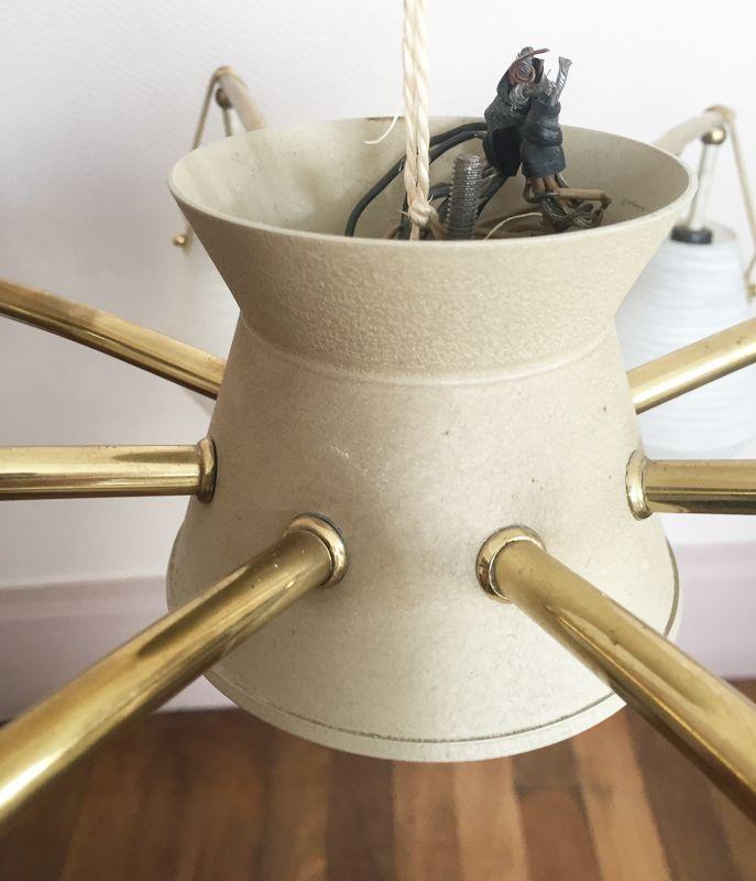 Kronleuchter Mit : Vergoldeter spinnen kronleuchter mit opalglas er bei pamono kaufen