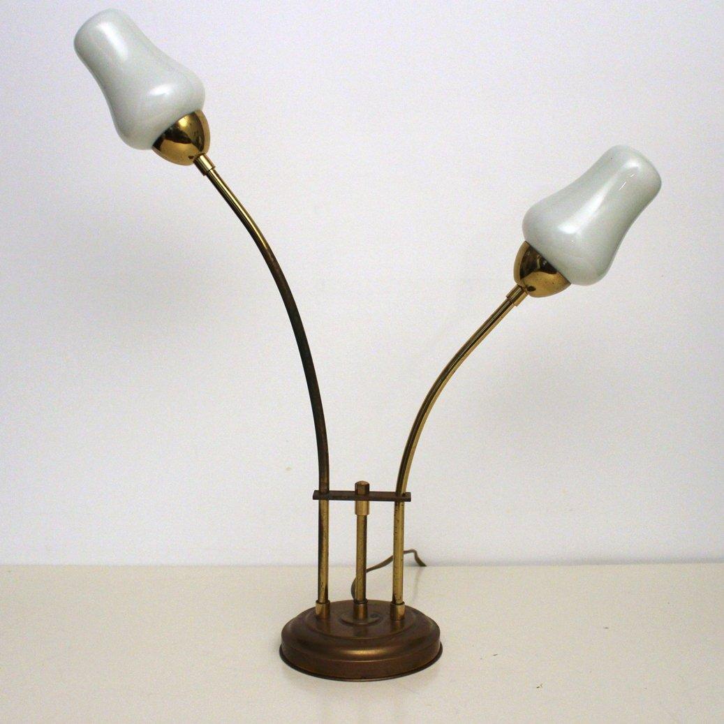 lampe de bureau vintage en laiton et verre blanc 1970s en vente sur pamono. Black Bedroom Furniture Sets. Home Design Ideas