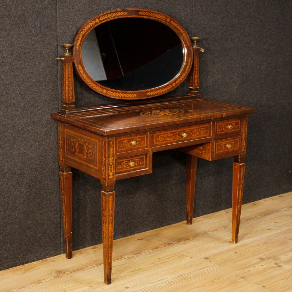 Italian Inlaid Dressing Table 1950s For Sale At Pamono