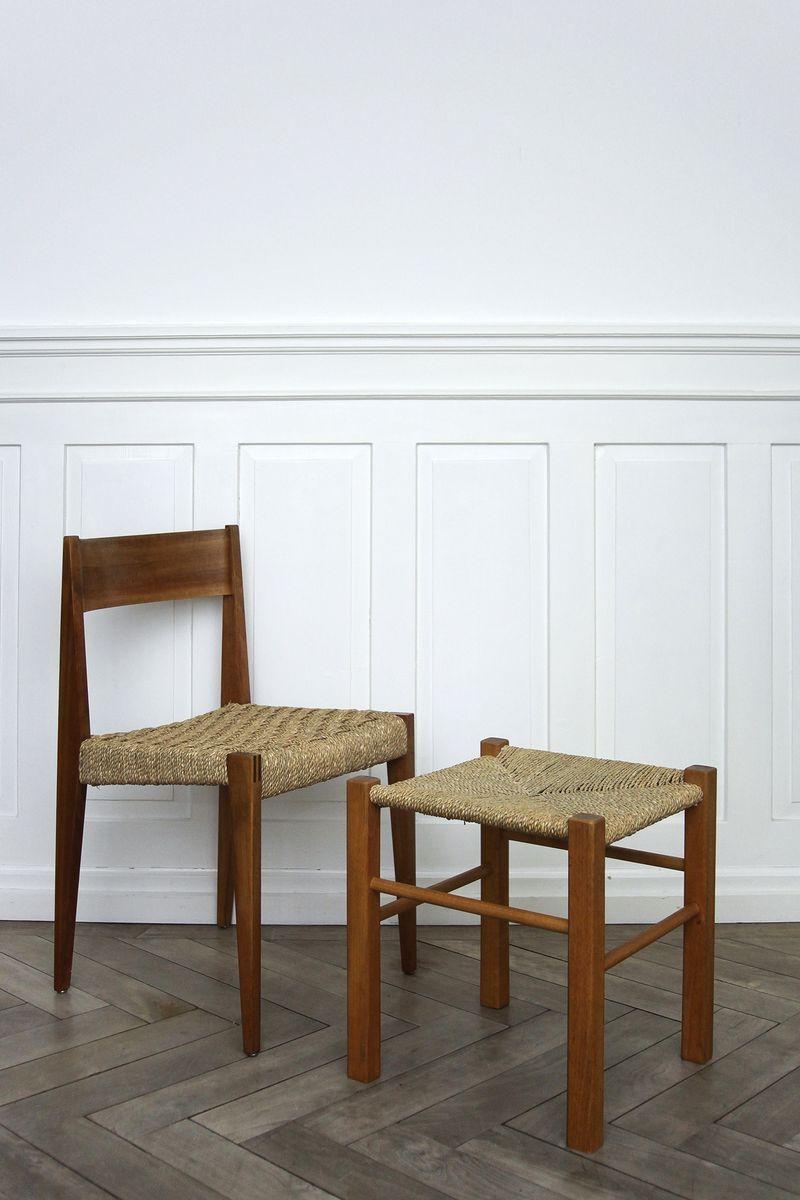 Stuhl mit hocker von martha villiger f r horgenglarus for Stuhl hocker