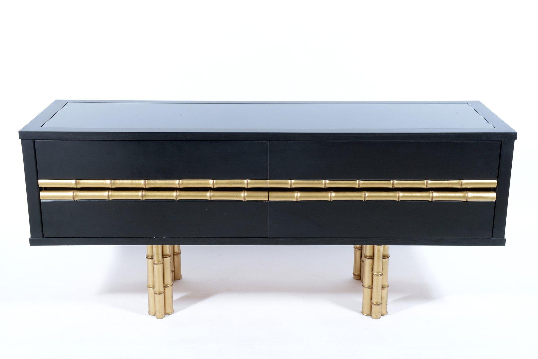 commode noire dor e italie 1960s en vente sur pamono. Black Bedroom Furniture Sets. Home Design Ideas