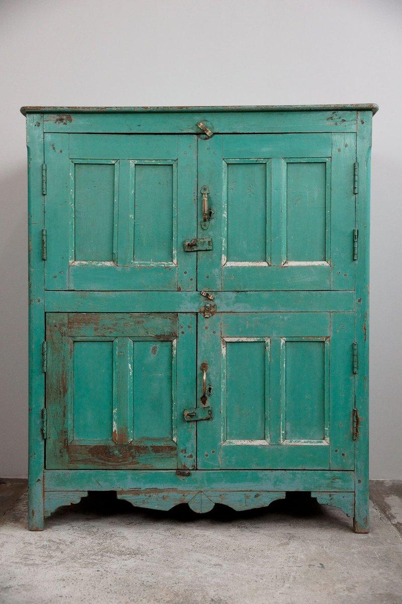 Turquoise Indian Vertiko, 1900s for sale at Pamono -> Vintage Kommode Türkis