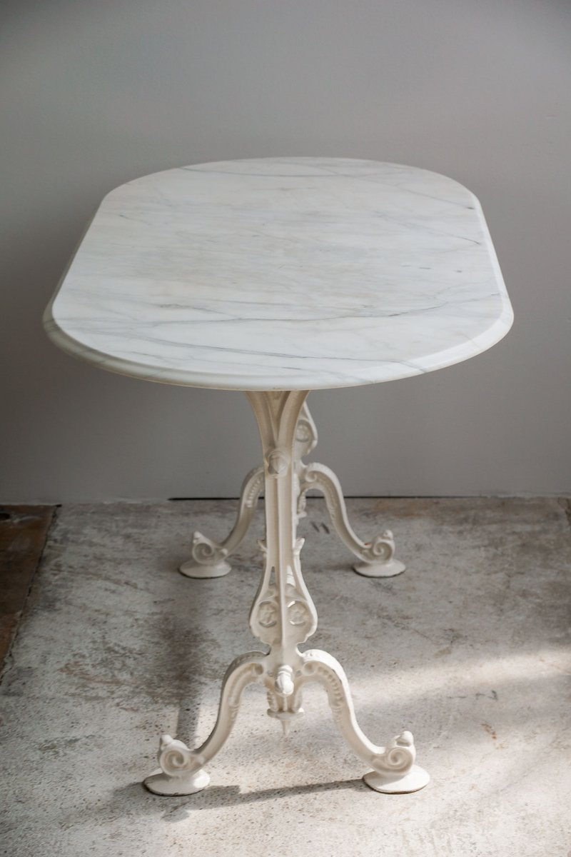 Antique French Oval Garden Table With Marble Top And Cast