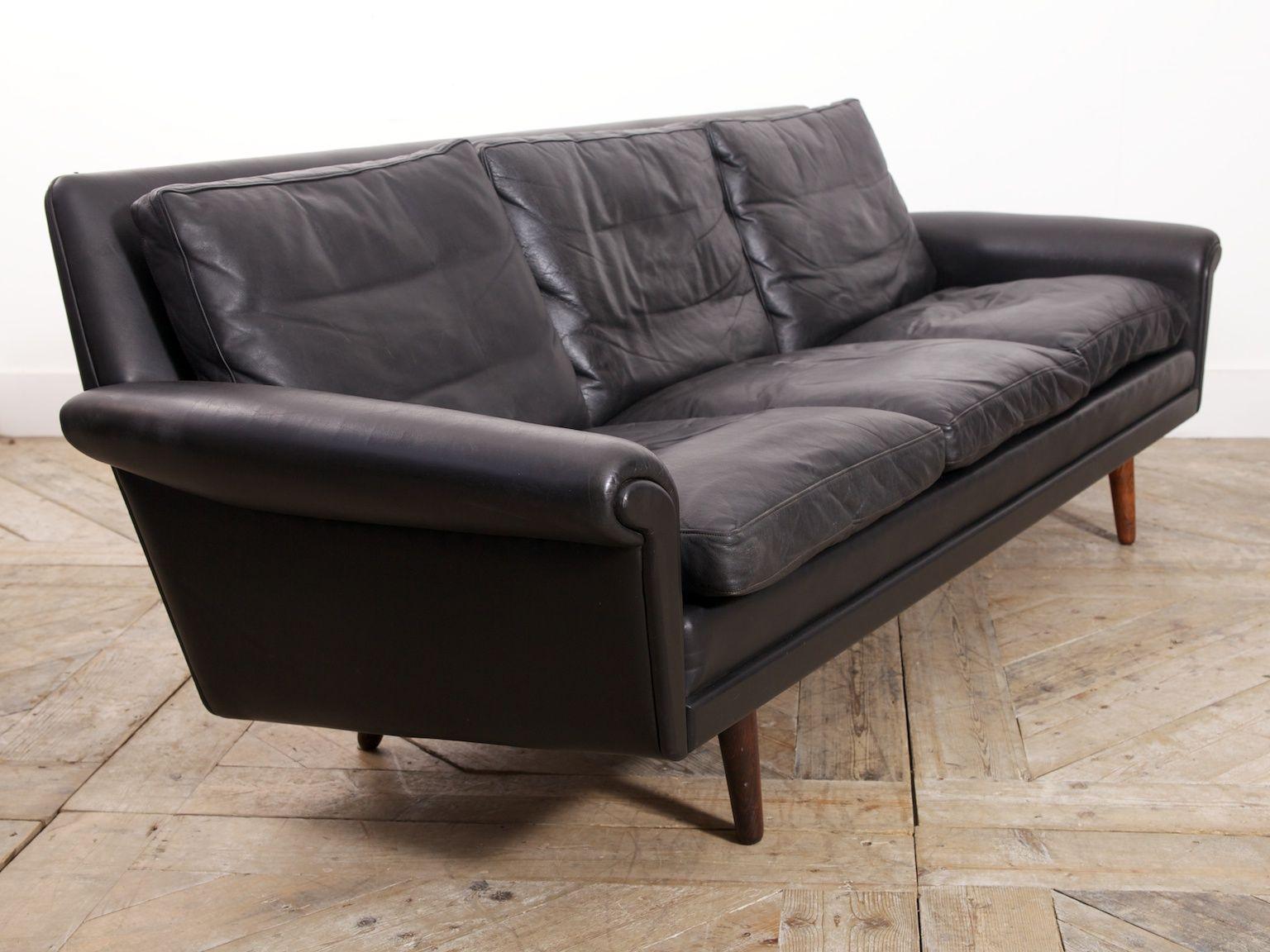 schwarzes leder diplomat sofa von aage christiansen f r erhardsen andersen 1965 bei pamono kaufen. Black Bedroom Furniture Sets. Home Design Ideas