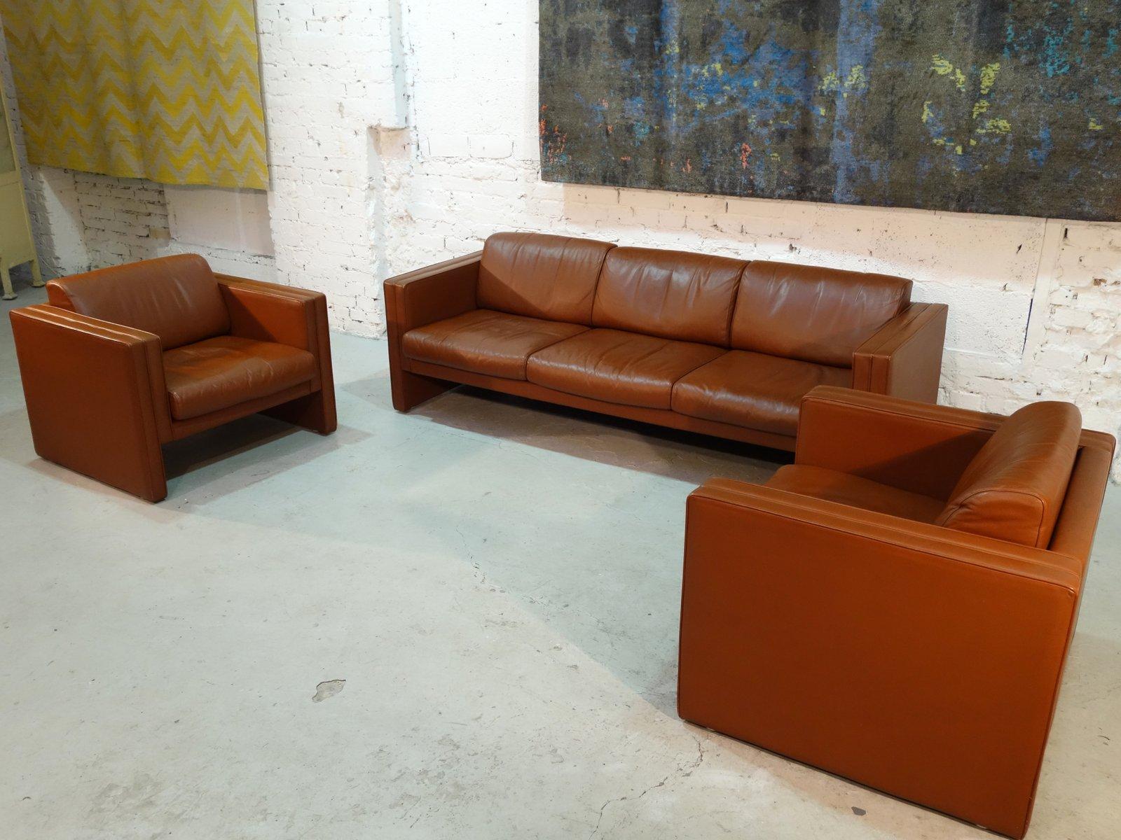 sofa mit zwei sesseln von walter knoll 1980er bei pamono kaufen. Black Bedroom Furniture Sets. Home Design Ideas