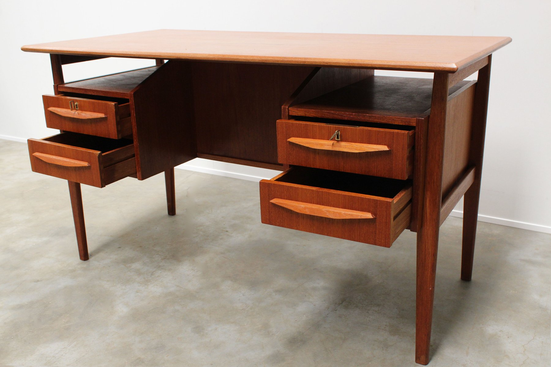 Mid century danish teak floating top free standing desk by for Floating desk for sale