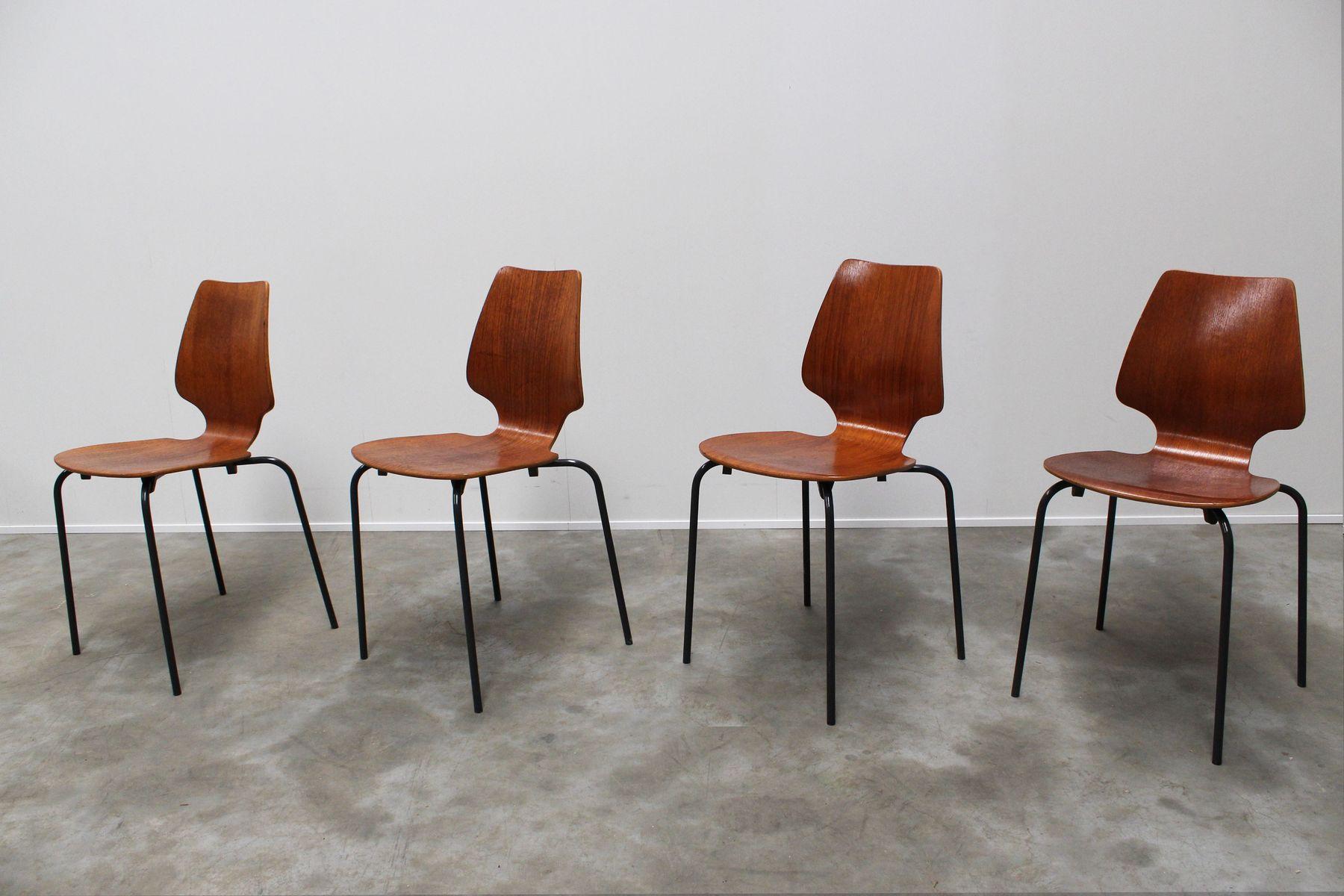mid century teak sperrholz st hle 4er set bei pamono kaufen. Black Bedroom Furniture Sets. Home Design Ideas