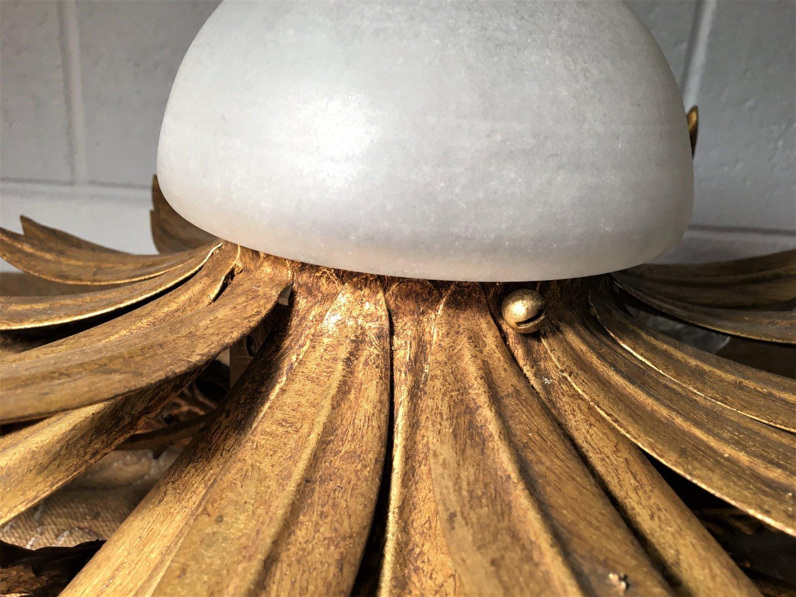 plafonnier en fer dor verre 1960s en vente sur pamono. Black Bedroom Furniture Sets. Home Design Ideas