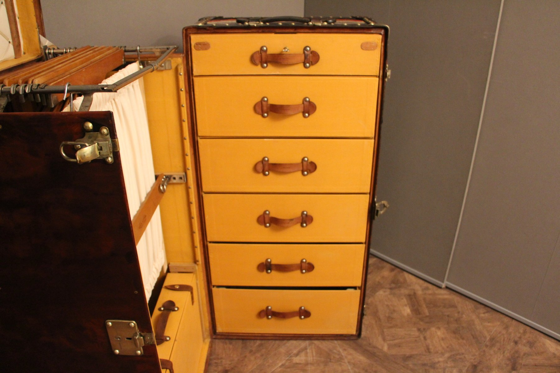 Steamer Trunk Furniture Large Leather Wardrobe Steamer Trunk From Louis Vuitton 1900s For