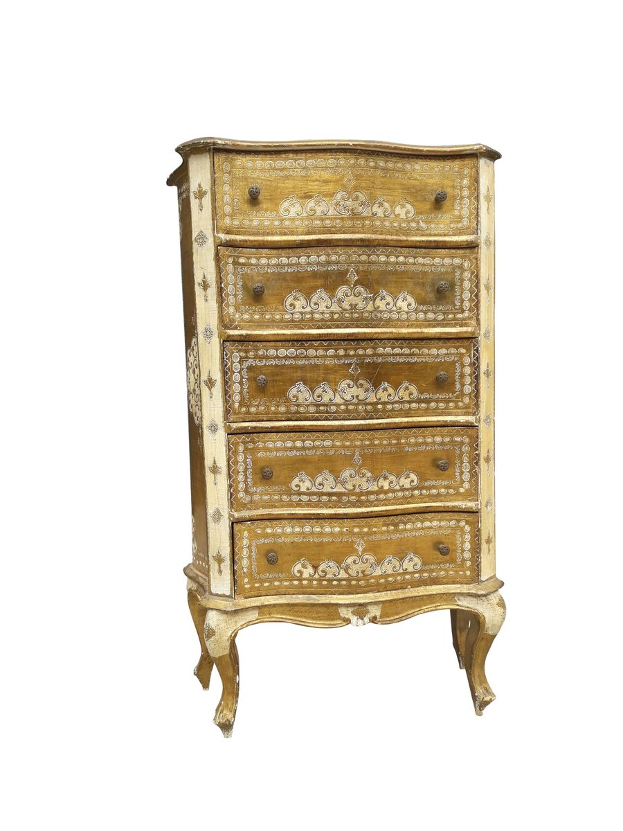 Vintage Florentine Italian Gilded Chest Of Drawers 1960s