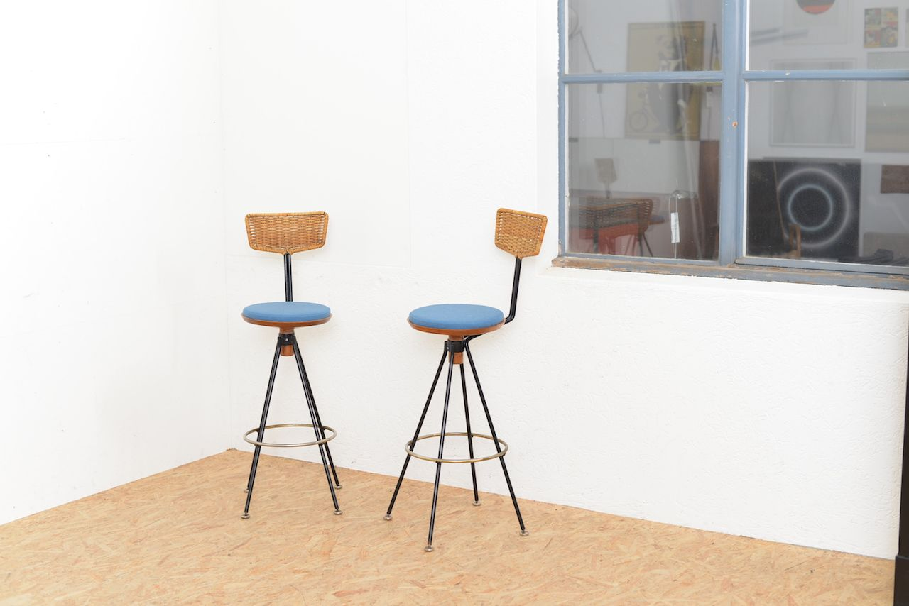 vintage beech rattan bar stools set of 4 for sale at pamono. Black Bedroom Furniture Sets. Home Design Ideas