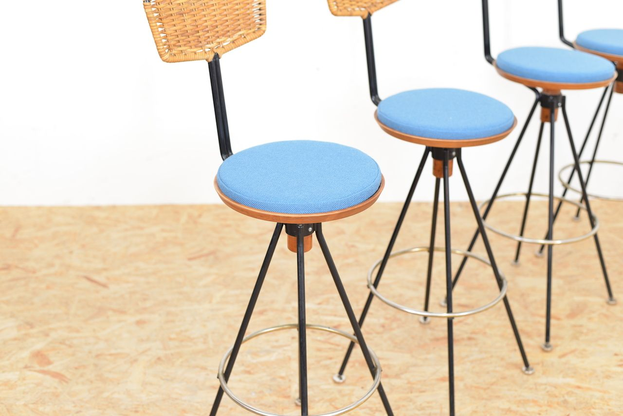 Vintage beech rattan bar stools set of 4 for sale at pamono for Rattan barhocker