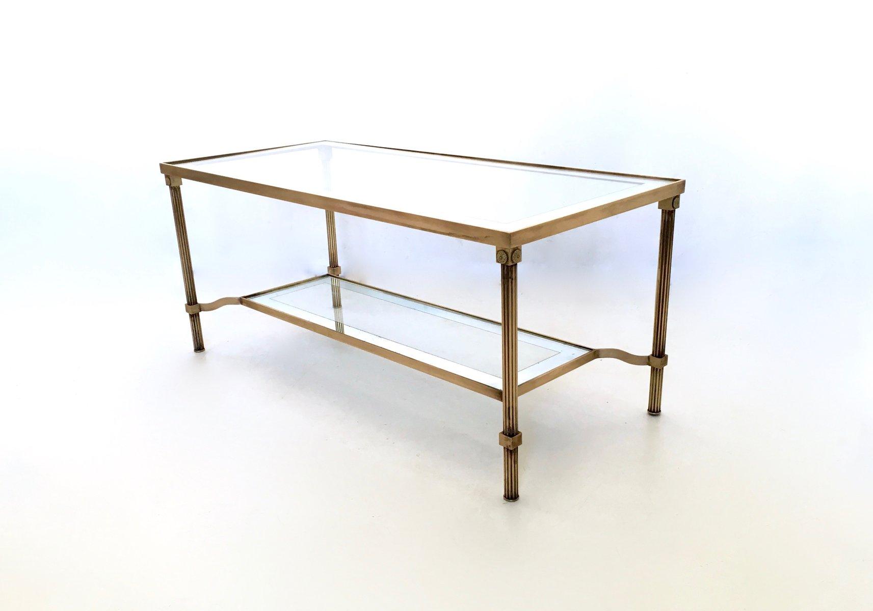 Table basse deux niveaux en laiton verre italie - Tavolini vetro e ottone ...