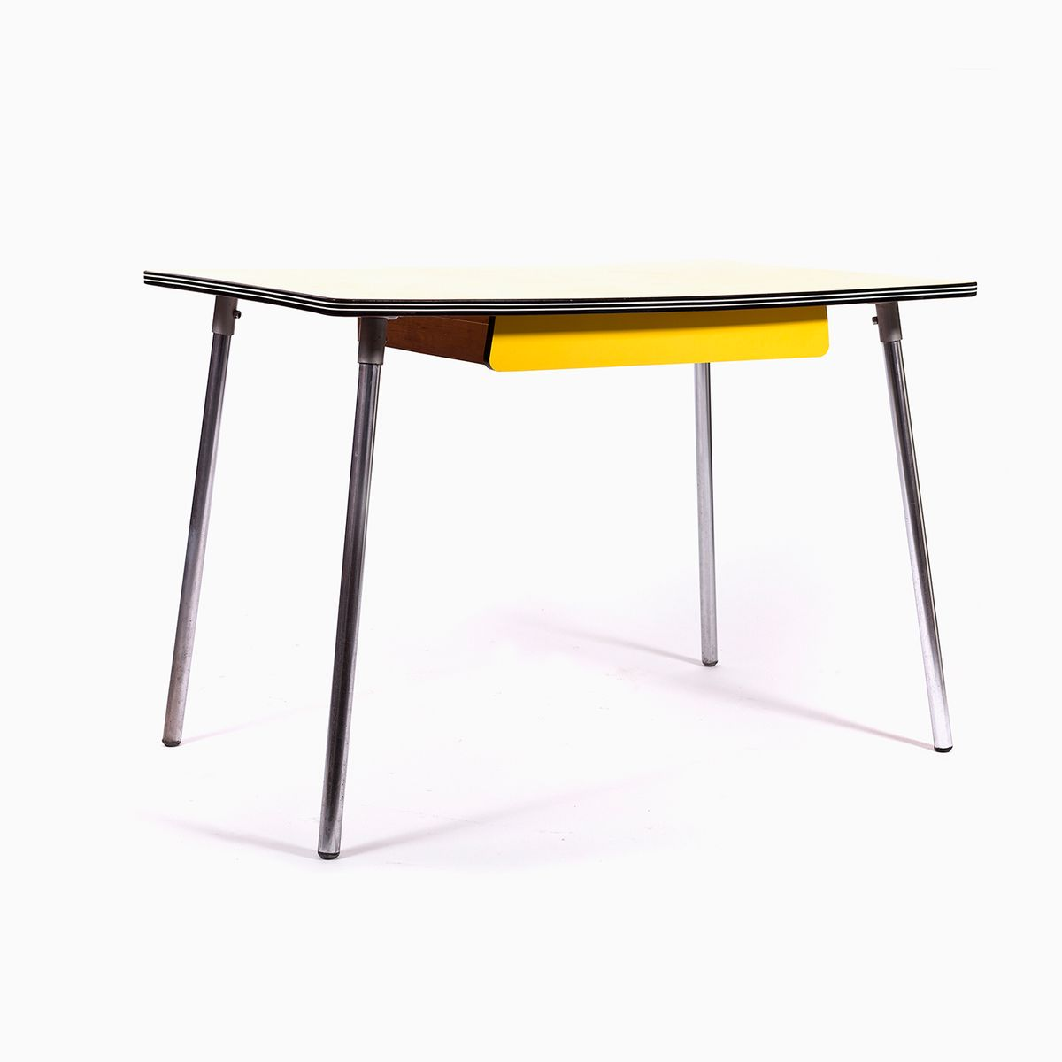 Great Vintage Yellow Formica Dining Table With Chrome Legs