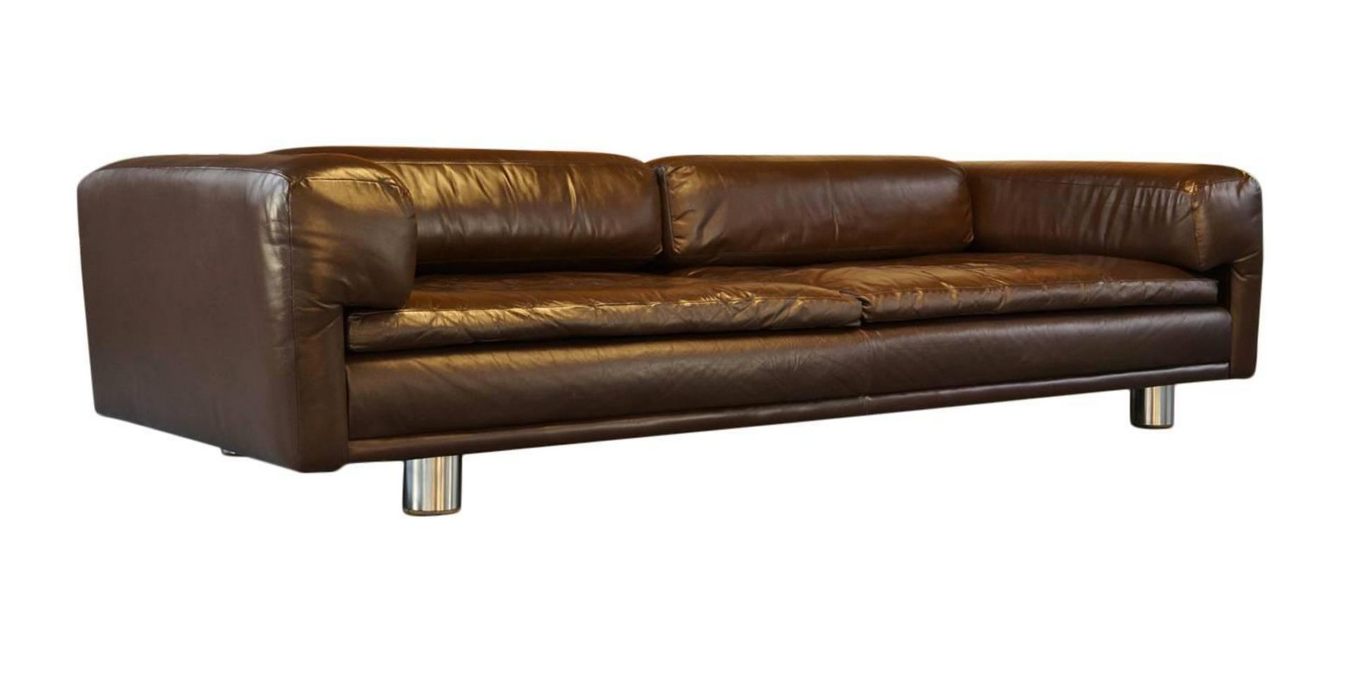 Hk Diplomat Large Brown Leather Sofa From Howard Keith 1970s For Sale At Pamono