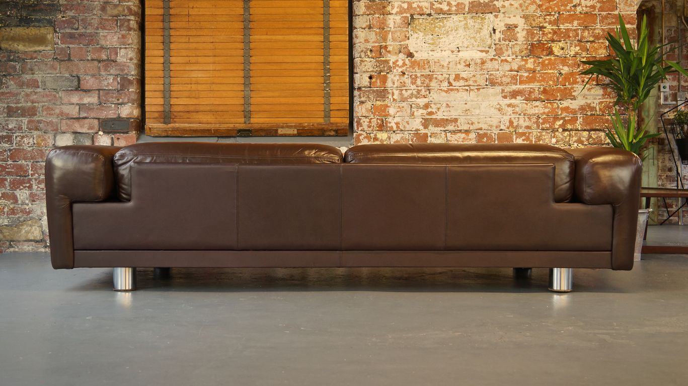 HK Diplomat Large Brown Leather Sofa From Howard Keith