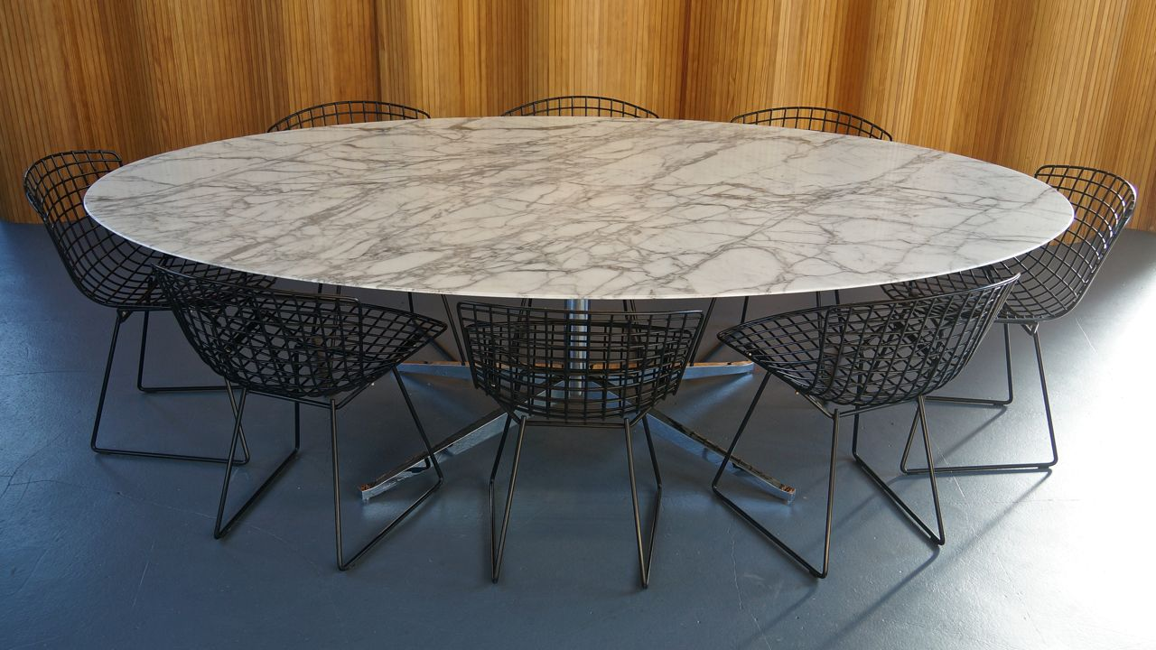 mid century white calacatta oval marble dining table from. Black Bedroom Furniture Sets. Home Design Ideas