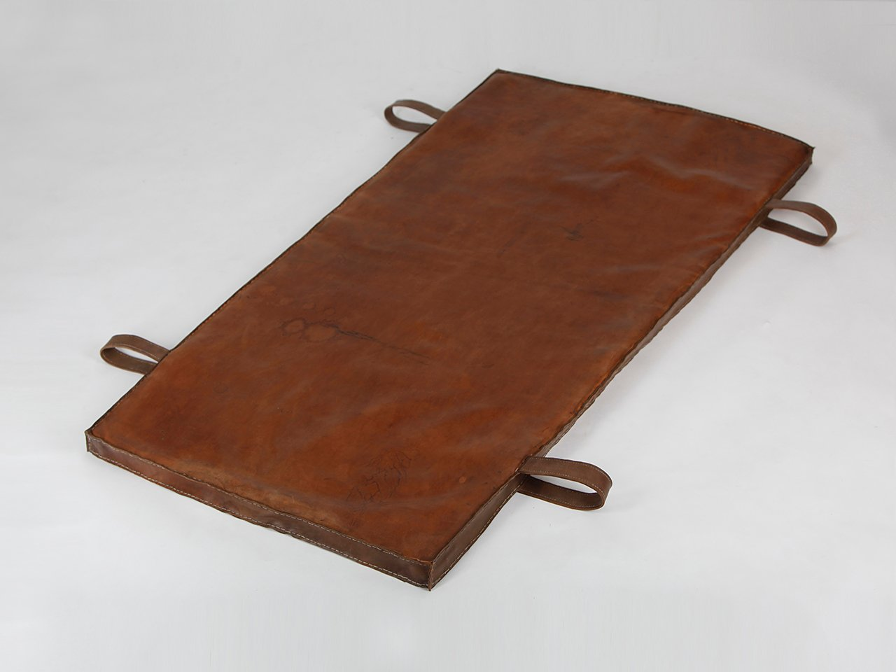 vintage czech gymnastics mat in brown leather 1940s