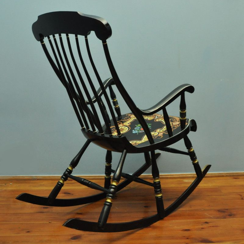 Vintage Swedish Decrotated Rocking Chair,1960s for sale at Pamono