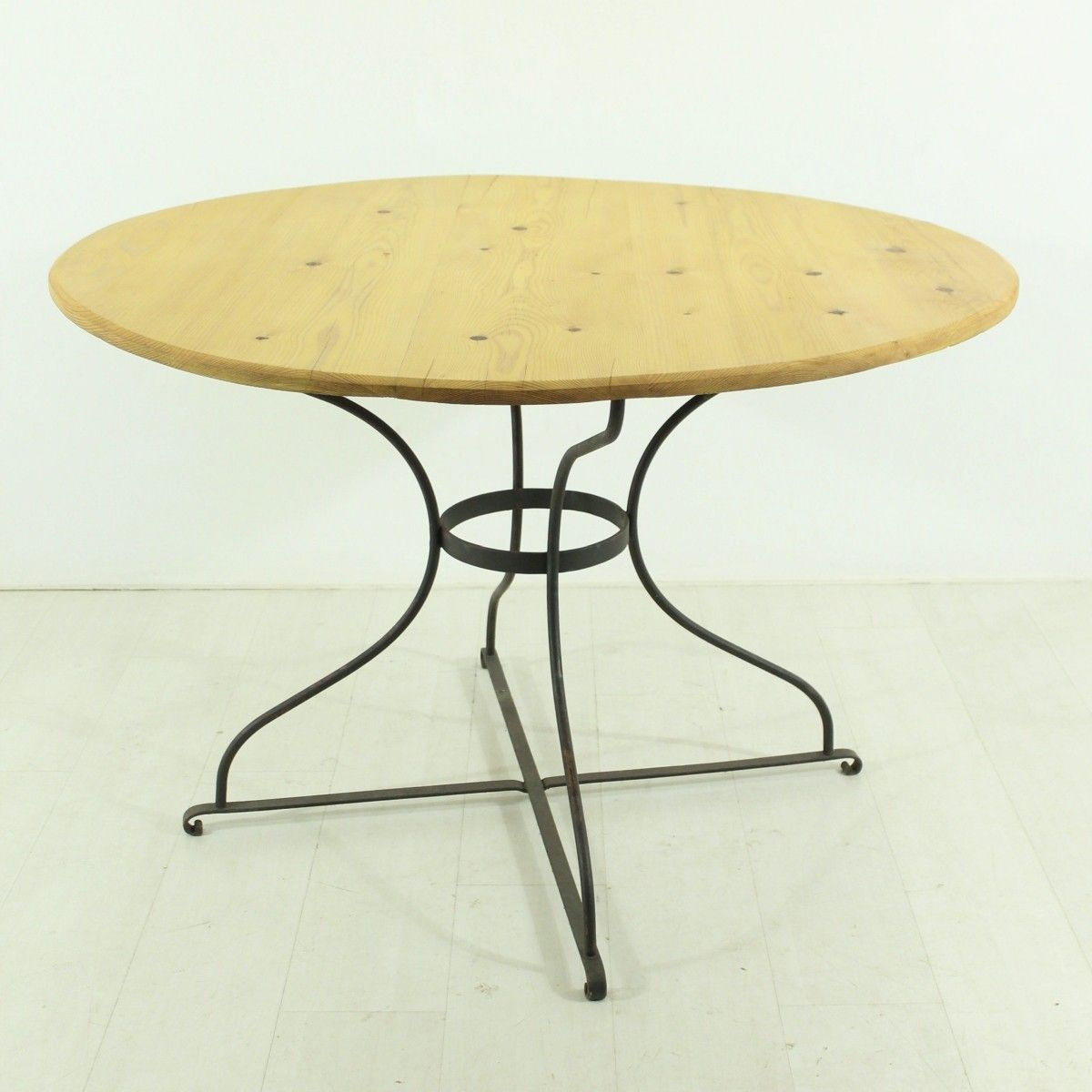 Vintage Round Dining Table with a Metal Base for sale at