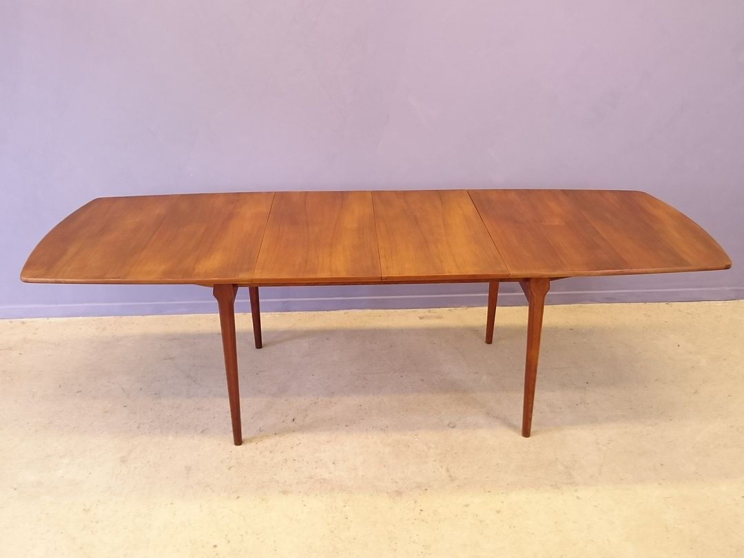 scandinavian extensible dining table in teak 1950s for. Black Bedroom Furniture Sets. Home Design Ideas