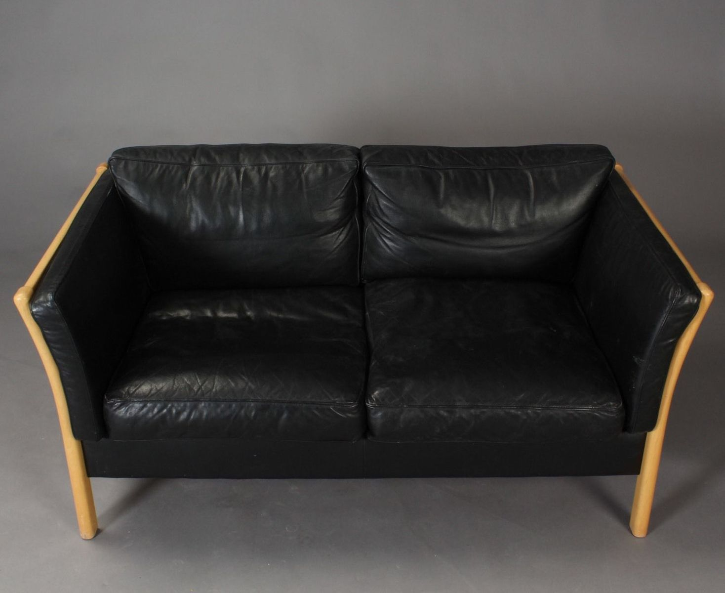 Danish 2 seater Sofa in Lacquered Beech and Black Leather