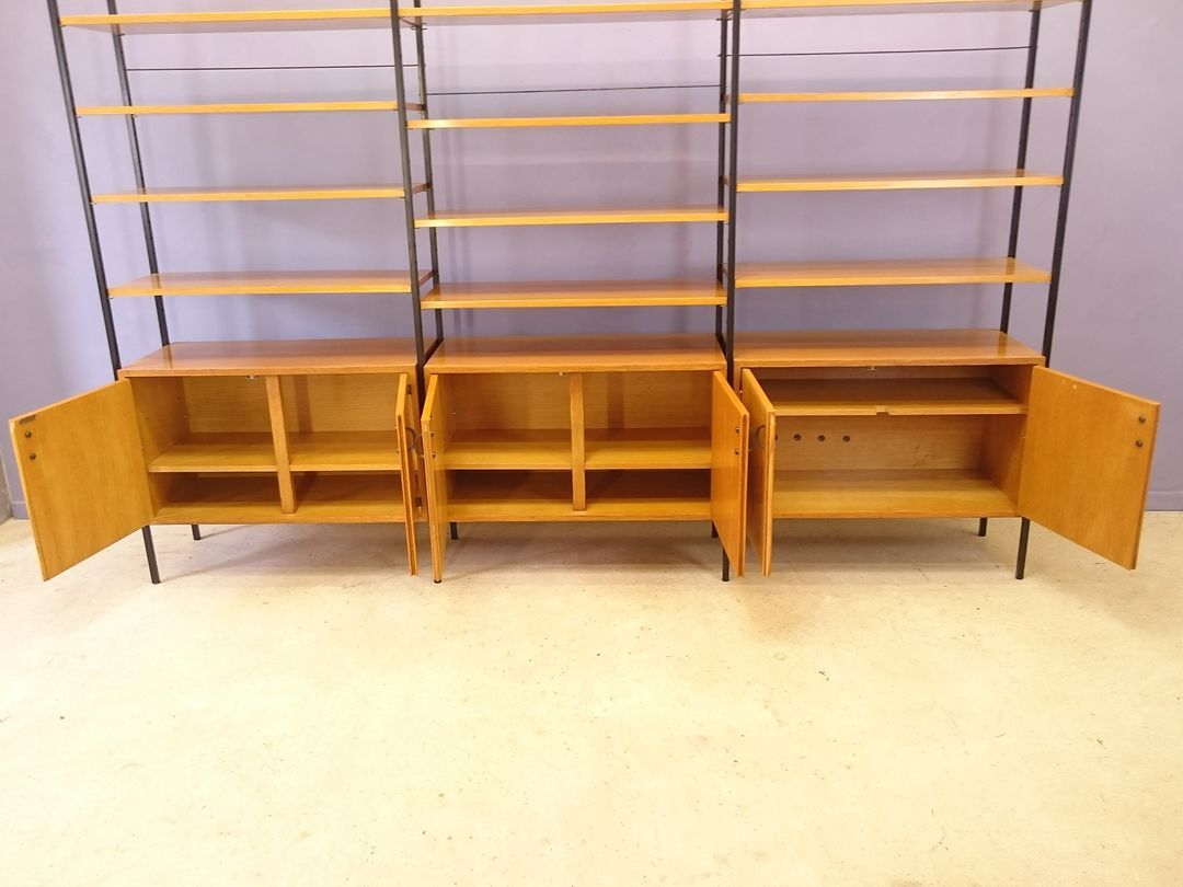 Modular Shelving Unit In Light Oak And Metal 1950s For