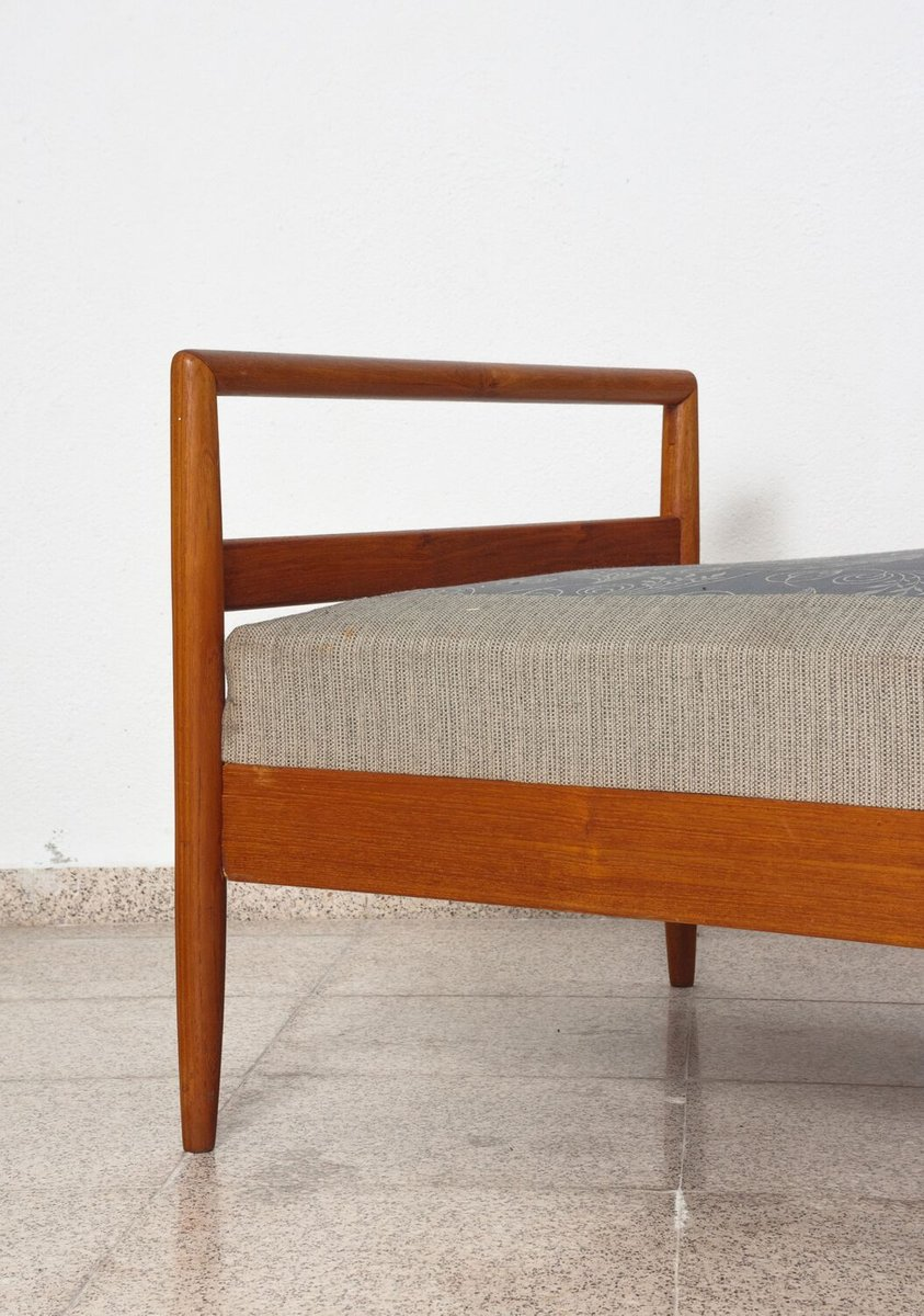 Swedish Teak Daybed with Spring Mattress Upholstered in