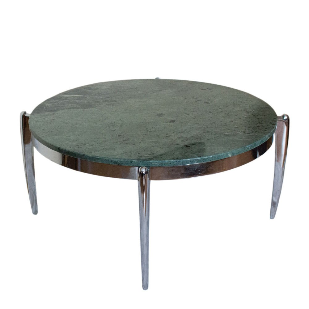 Coffee Table In Marble And Stainless Steel 1970s For Sale At Pamono