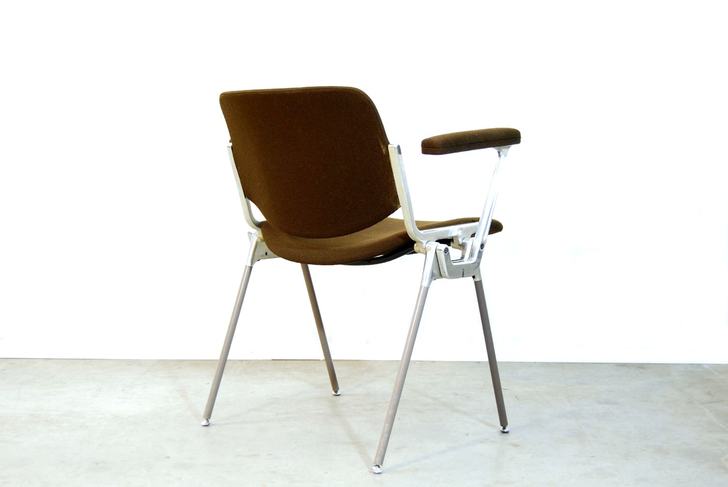 Italian brown dining chair by giancarlo piretti for for 1980s chair