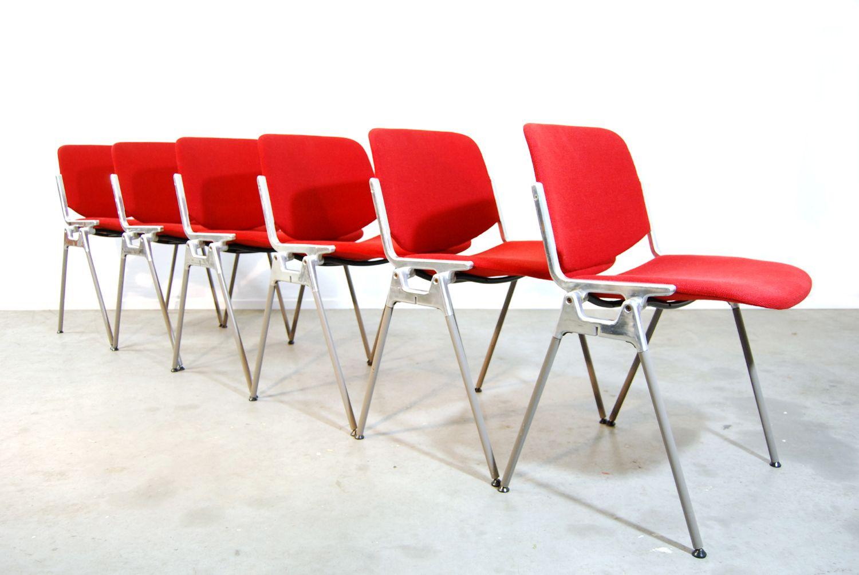 Italian red dining chairs by giancarlo piretti for for Red dining chairs for sale