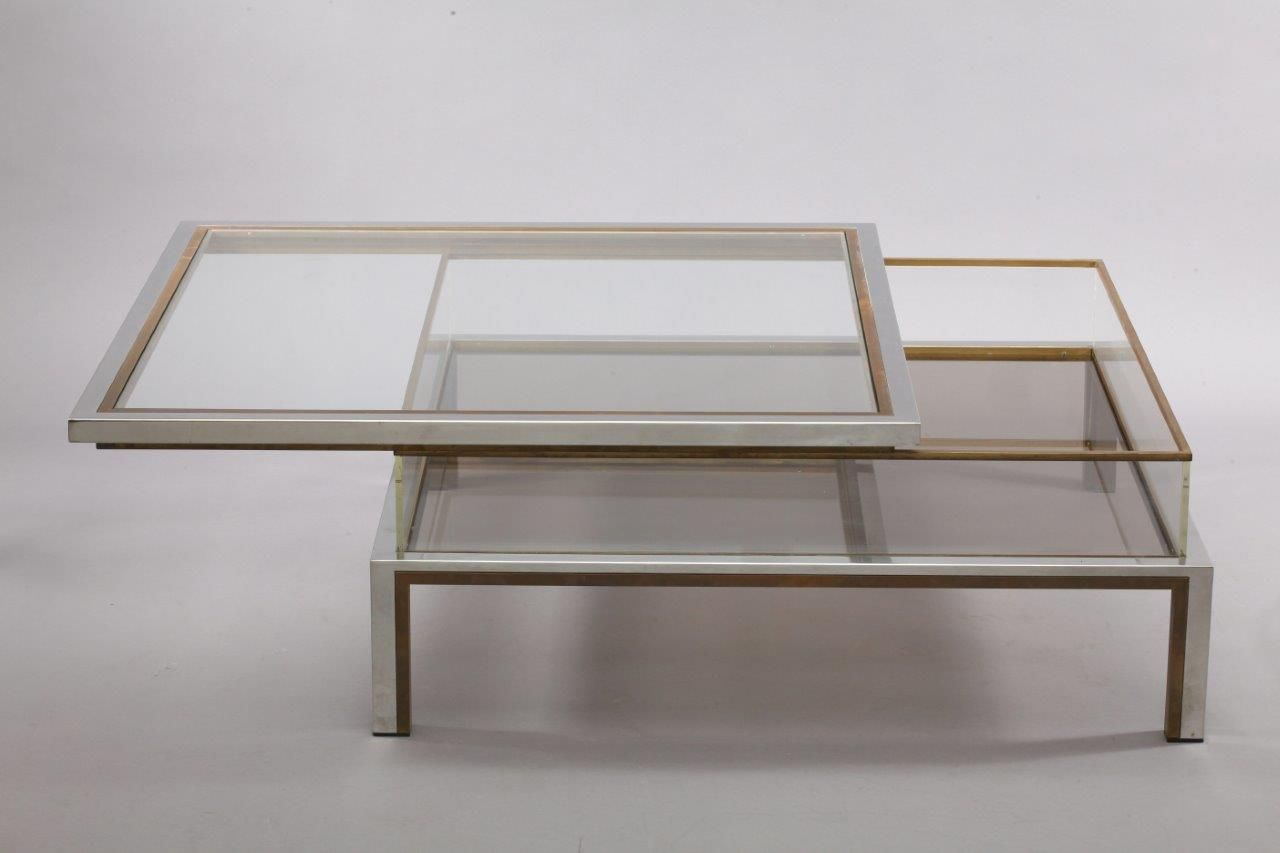 Coffee Table Sliding Top In Brass And Chrome From Maison Jansen 1970