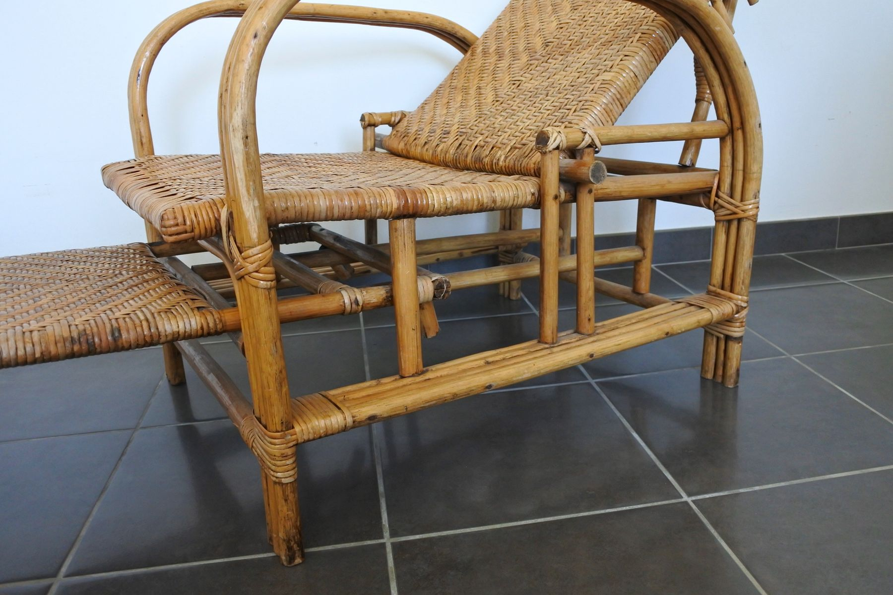 Vintage French Bamboo Reclining Chair 1950s for sale at Pamono