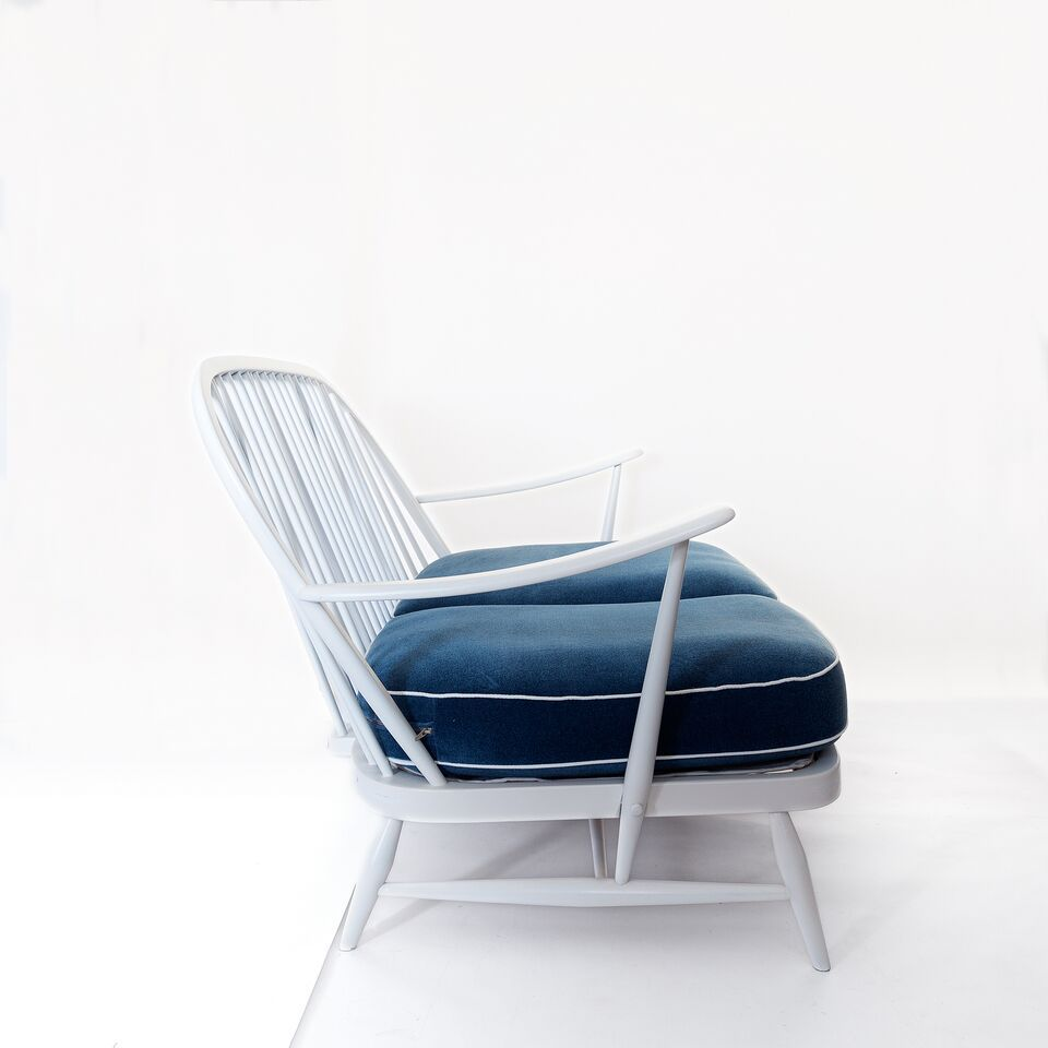 Vintage white wood and blue velvet windsor sofa by lucian for Blue and white sofa