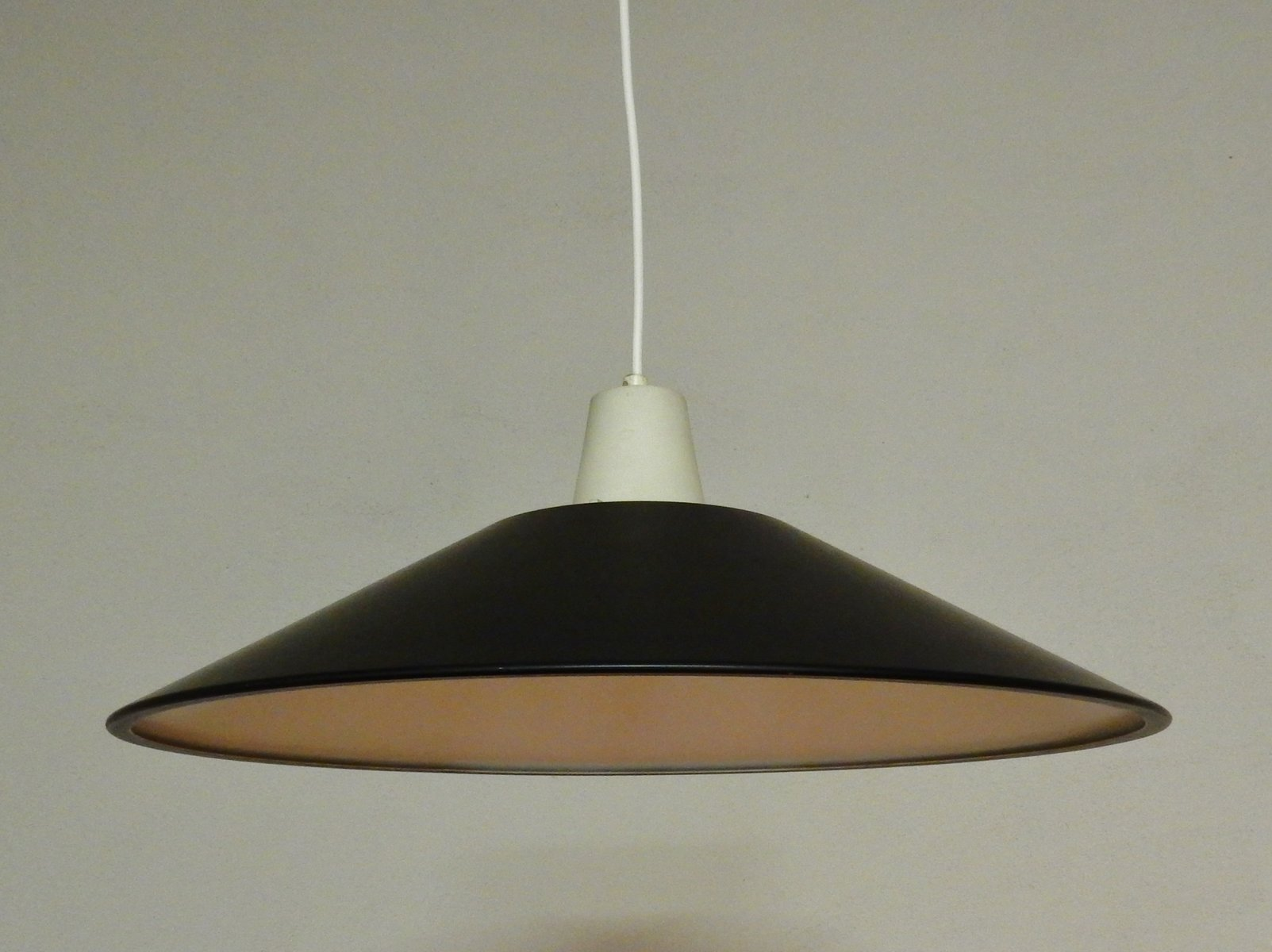 mid century black and white lacquered pendant light 1950s for sale at